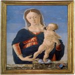 Marco Zoppo (1433 - 1498)   Madonna and Child  Tempera on panel, about 1467-1468  47 x 35.7 cm (with engaged frame), 41.2 x 29.8 cm (painted surface)  Washington, National Gallery of Art, USA